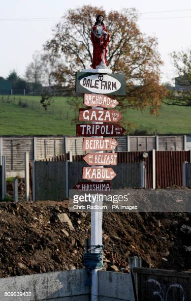 A sign remains at the illegal Dale Farm travellers site following the completion of clearance works by Basildon Council in Crays Hill Essex