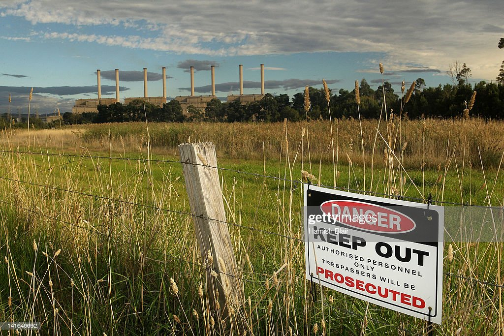 A sign restricting access to land around the Hazelwood Power Station on March 21, 2012 in Melbourne, Australia. The brown coal fueled power station, located in Latrobe Valley is the oldest in Victoria and provides the state nearly 25% of its energy. In 2005 Hazelwood was labeled Australia's least carbon efficient power station by WWF Australia and continues to be a target of issue of environmentalist groups.