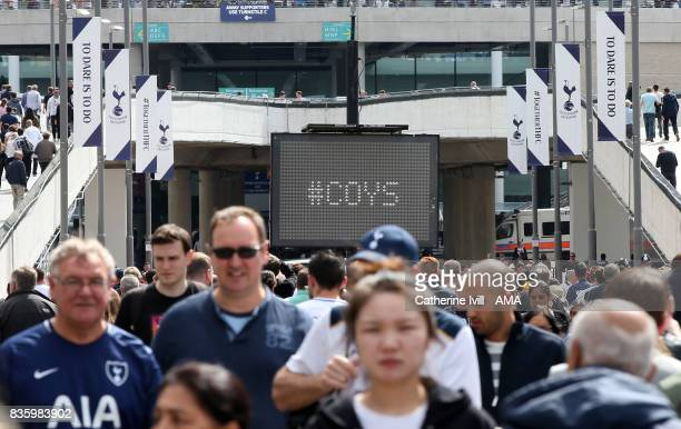 A sign saying COYS before the Premier League match between Tottenham Hotspur and Chelsea at Wembley Stadium on August 20 2017 in London England
