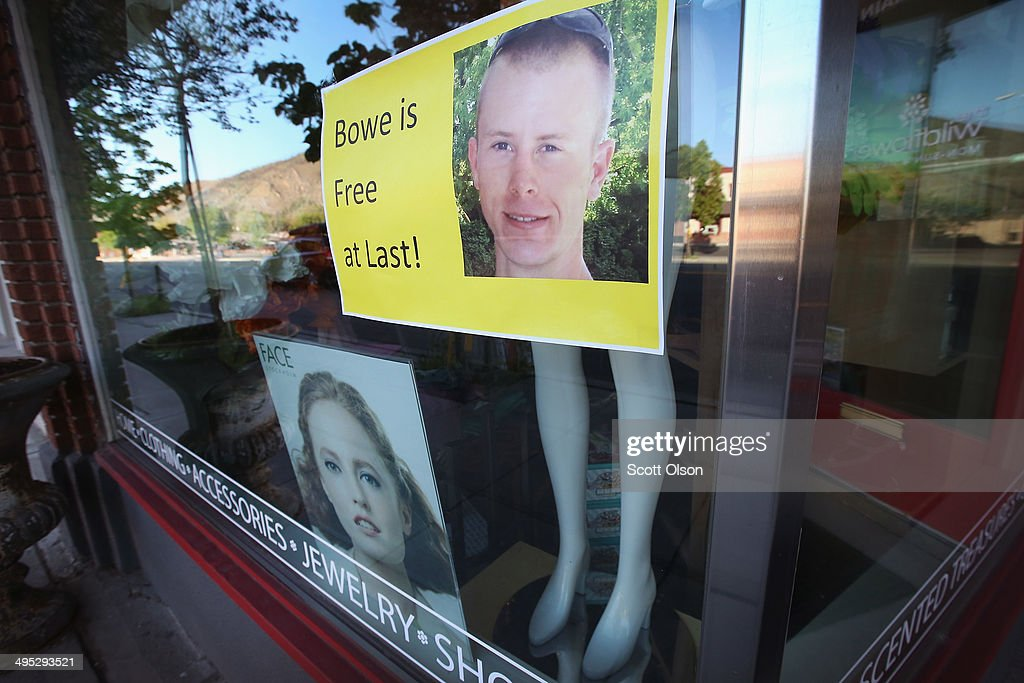 A sign showing support for Sgt. Bowe Bergdahl hangs in a store window along Main Street on June 2, 2014 in Hailey, Idaho. Sgt. Bergdahl was released from captivity on May 31 after being captured in Afghanistan in 2009 while serving with U.S. Armys 501st Parachute Infantry Regiment in Paktika Province. He was released after a deal was worked out to swap his freedom for the freedom of 5 Taliban prisoners being held at Guantanamo Bay. Bergdahl was considered the only U.S. prisoner of war held in Afghanistan.