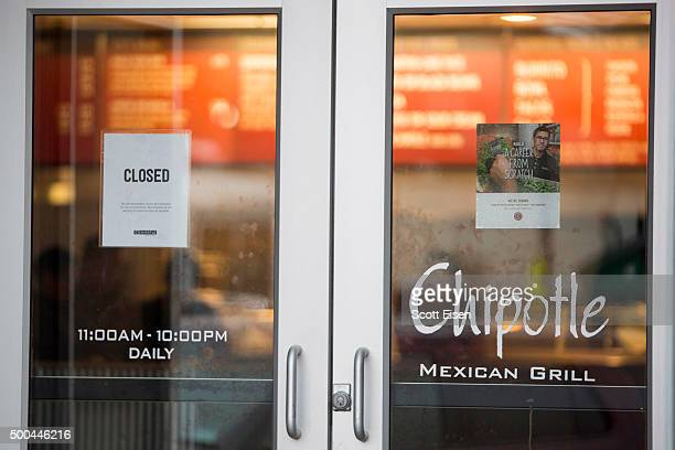 A sign showing that the Chipotle Mexican Grill seen at 1924 Beacon St is closed on December 8 2015 in Boston Massachusetts According to Boston...
