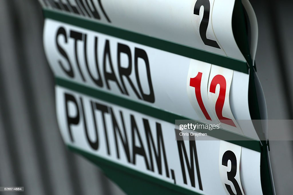 A sign showing the leading score of 12 under par for leader Brian Stuard is seen following the continuaiton of the second round of the Zurich Classic of New Orleans at TPC Louisiana on April 30, 2016 in Avondale, Louisiana.
