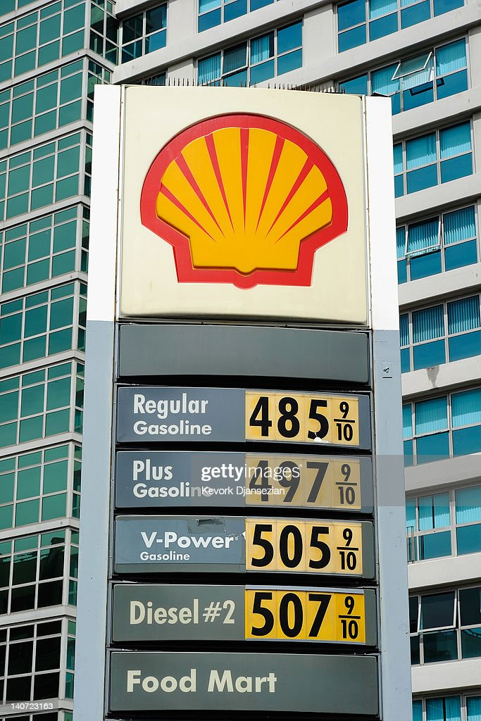 A sign shows gas prices nearing $5 a gallon for regular unleaded at a Shell service station on March 5, 2012 in Los Angeles, California. According to AAA the average price of regular unleaded gasoline climbed three-tenths of a cent nationwide as a result of high oil prices and tensions tied to Iran's nuclear program.