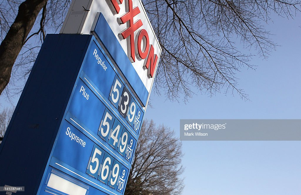 A sign shows gas prices over five dollars a gallon for all three grades at a EXXON service station on March 13, 2012 in Washington, DC According to AAA the average price of gas has climbed three tenths of a cent nationwide as a result of high oil prices and tensions tied to Iran's nuclear program.