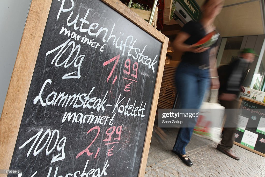 A sign shows th prices in Euros for turkey steaks and lamb cutlets outside a supermarket on June 21, 2011 in Berlin, Germany. Eurozone finance ministers are currently seeking to find a solution to Greece's pressing debt problems, including the prospect of the country's inability to meet its financial obligations unless it gets a fresh, multi-billion Euro loan by July 1. Greece's increasing tilt towards bankruptcy is rattling worldwide financial markets, and leading economists warn that bankruptcy would endanger the stability of the Euro and have dire global consequences.