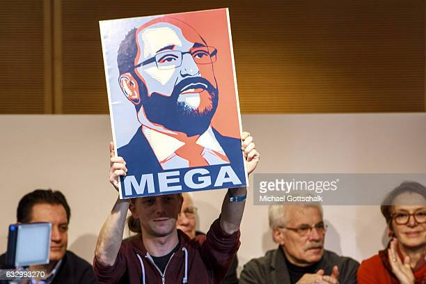 A sign shows the head of Martin Schulz Top Candidate or Kanzlerkandidat for the Federal Election 2017 at SPD headquarters Willy Brandt Haus on...