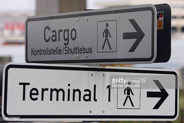 A sign shows the way to the Cargo Center at the CologneBonn airport on November 2 2010 Responsibility for air freight security must lie with...