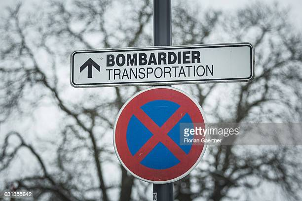 A sign shows the way to the plant of Bombardier plant on January 09 2017 in Goerlitz Germany According to media reports Canadian train manufacturer...