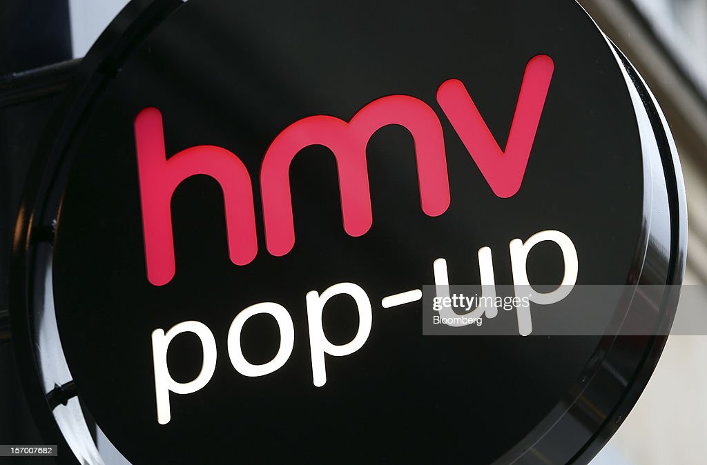 A sign sits above the entrance to a HMV pop-up store in London, U.K., on Tuesday, Nov. 27, 2012. Fashion chain Hobbs is among those that have opened pop-up stores for the first time this year, while CD and DVD retailer HMV Group Plc is adding more than usual for the holiday in an effort to win business. Photographer: Chris Ratcliffe/Bloomberg via Getty Images