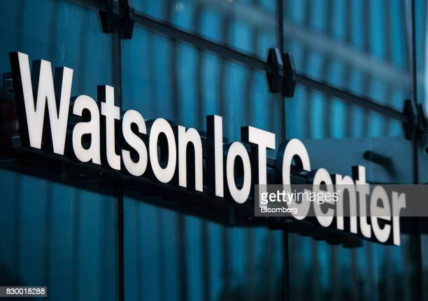 A sign sits inside the International Business Machines Corp Watson cognitive computing platform Internet ofThings center in Munich Germany on...