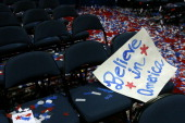 A sign sits on a seat after Republican presidential candidate former Massachusetts Gov Mitt Romney accepted the nomination during the final day of...