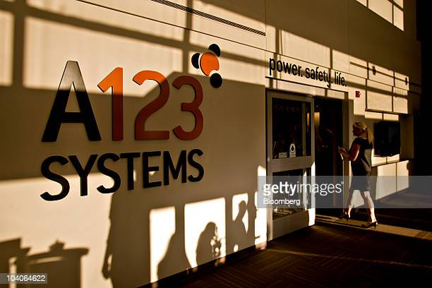 A sign sits on display at the new A123 Systems lithium ion automotive battery manufacturing plant in Livonia Michigan US on Monday Sept 13 2010 A123...
