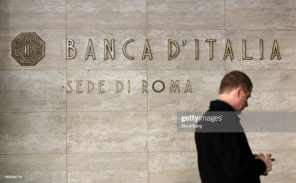 A sign sits outside the entrance to the Banca d'Italia, Italy's central bank, in Rome, Italy, on Friday, Jan. 25, 2013. Italian Prime Minister Mario Monti said the Bank of Italy will take another look at Banca Monte dei Paschi di Siena SpA's books after the company disclosed this week it may face more than 700 million euros of losses related to structured finance transactions hidden from regulators. Photographer: Alessia Pierdomenico/Bloomberg via Getty Images