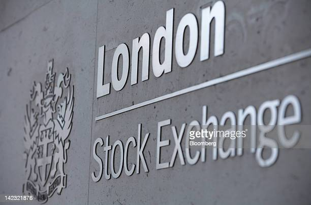 A sign sits outside the main entrance of the London Stock Exchange Group Plc's headquarters as the company holds its first ever charity trading day...