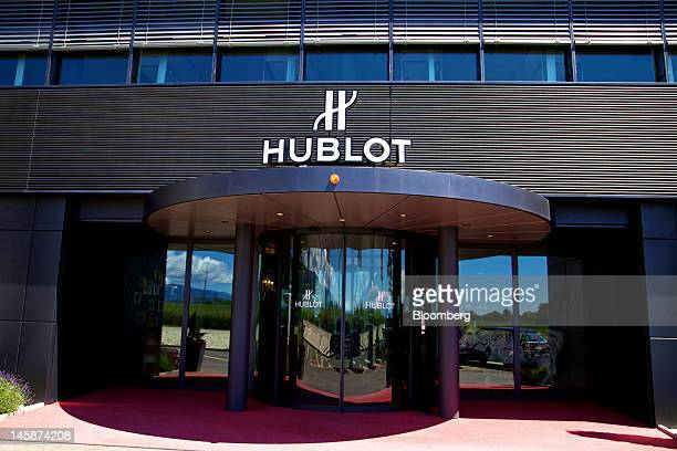 A sign sits over the entrance to the headquarters of Hublot SA in Nyon Switzerland on Tuesday June 5 2012 Hublot SA Chairman JeanClaude Biver said...
