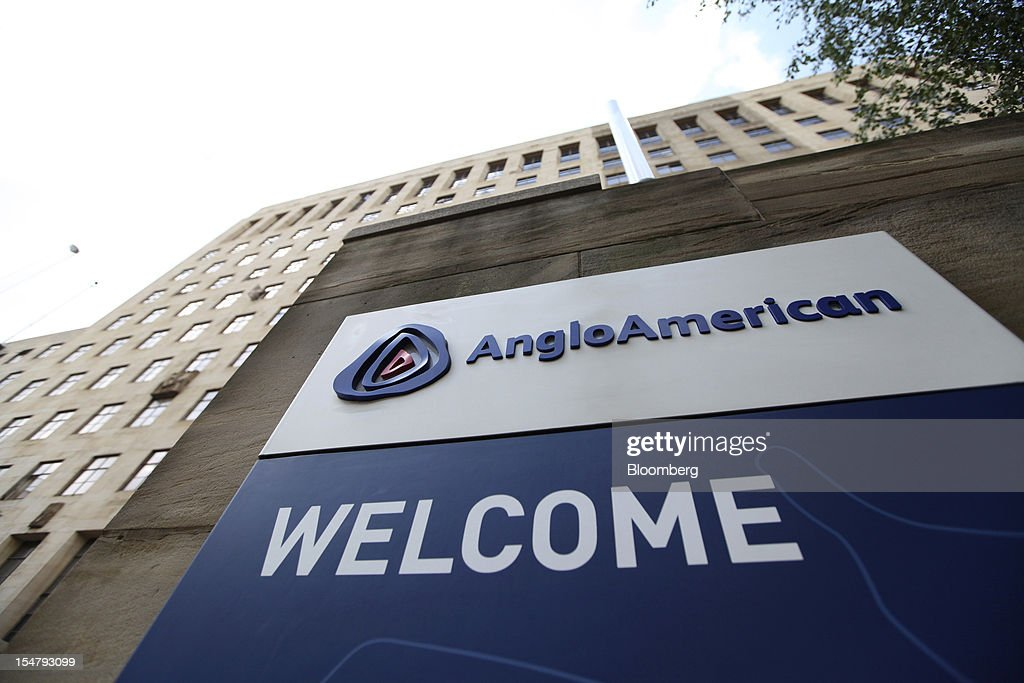 A sign stands at the entrance to the offices of Anglo American Plc in the Marshalltown district of Johannesburg, South Africa, on Friday, Oct. 26, 2012. Anglo American Plc Chief Executive Officer Cynthia Carroll , the first woman, external hire and non-South African to hold the job, will quit after Anglo lost $14 billion in value in the more than five years she was in charge. Photographer: Chris Ratcliffe/Bloomberg via Getty Images