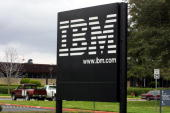 A sign stands at the main entrance of the IBM campus February 14 2001 in Austin Texas A book that went on sale February 12 2001 charged that IBM's...