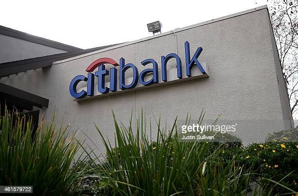 A sign stands in front of a Citibank branch office on January 15 2015 in San Rafael California Citigroup Inc reported an 86 percent decline in fourth...