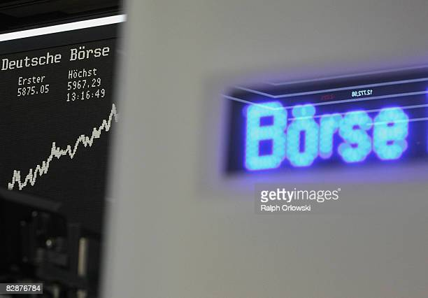 A sign stands in front of the DAX Index board on the trading floor of Frankfurt stock exchange on September 18 2008 in Frankfurt Germany Due to the...