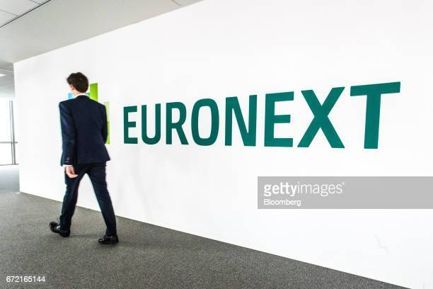 A sign stands inside the Paris stock exchange operated by Euronext NV in La Defense business district in Paris France on Monday April 24 2017 Frances...