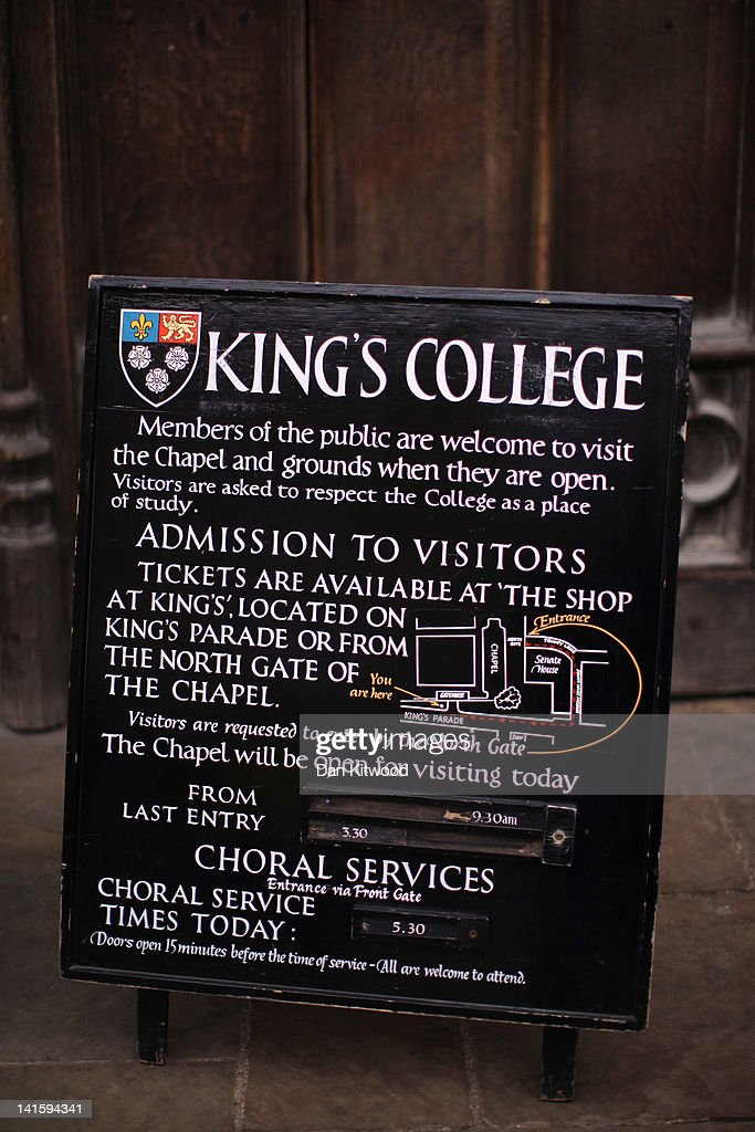 A sign stands outside King's College on March 13, 2012 in Cambridge, England. Cambridge has a student population in excess of 22,000 spread over 31 different independent Colleges across the city. The city is home to several famous University's, including The University of Cambridge, which was founded in 1209, and is ranked one of the top five universities in the world, King's College Chapel, and Trinity College. Famous alumni have included the likes of Charles Darwin, Isaac Newton, Samuel Pepys and David Attenborough.