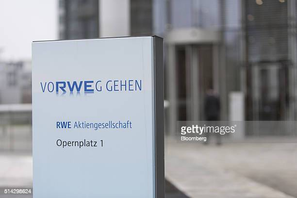 A sign stands outside the headquarters of RWE AG after the company announced its full year earnings in Essen Germany on Tuesday March 8 2016 RWE's UK...