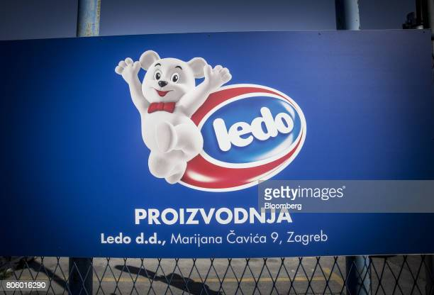 A sign stands outside the Ledo dd ice cream plant operated by Agrokor dd in Zagreb Croatia on Monday June 12 2017 Croatian retailer Agrokor secured a...
