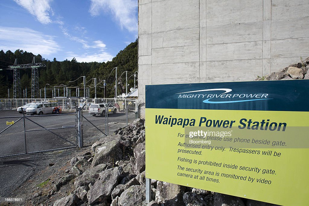A sign stands outside the Waipapa hydroelectric power station, operated by Mighty River Power Ltd., north of Mangakino, New Zealand, on Wednesday, May 8, 2013. New Zealand raised NZ$1.7 billion ($1.4 billion) from the sale of Mighty River shares as the nation's biggest initial public offering closed at a price at the lower end of the indicative range. Photographer: Brendon O'Hagan/Bloomberg via Getty Images