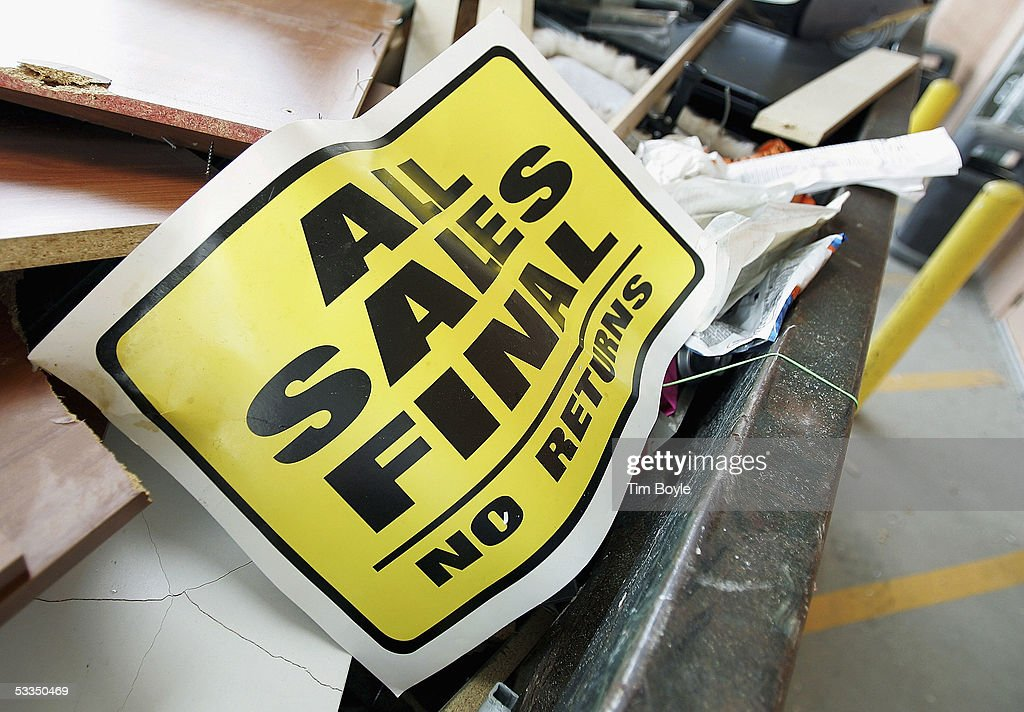 A sign that reads 'All Sales Final - No Returns' is seen in a dumpster of discarded items behind a closed Expo Design Center store August 10, 2005 in Schaumburg, Illinois. Home Depot has said it plans to close a third of its Expo Design Centers in the US, closing three of its five stores in the Chicago area.