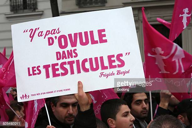 Sign Theres no egg in the testicles Paris event anti Wedding for All
