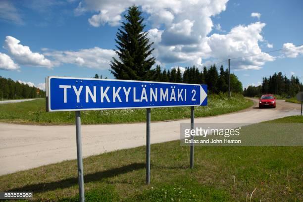 Sign to Tynkkylanmaki Town in Saimaa Lake District