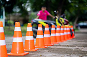 Sign traffic, cone traffic safety on road street