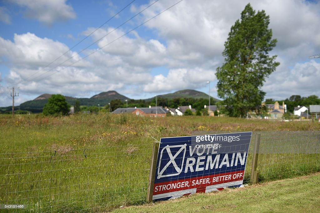 A sign urging people to vote 'Remain' in last week's referendum on the UK's membership of the European Union, in the village of St Boswells in Scotland close to the border between England and Scotland on June 26, 2016. Scotland's First Minister Nicola Sturgeon campaigned strongly for Britain to remain in the EU, but the vote to leave has given the Scottish National Party leader a fresh shot at securing independence. Sturgeon predicted more than a year ago that a British vote to leave the alliance would give pro-European Scots cause to hold a second referendum on breaking with the UK. SCARFF