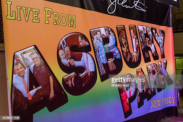 A sign uses the design of a Bruce Springsteen album cover at an election night party for New Jersey Republican Governor Chris Christie in Asbury Park...