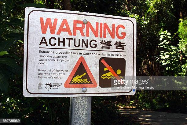 A sign warning of crocodiles in the beaches to the north of Cairns in north Queensland 20 August 2003 SMH Picture by LEIGH HENNINGHAM