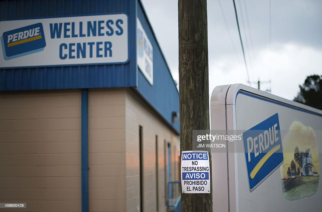 A sign warning of no trespassing is posted outside the Perdue Wellness Center in what is locally known as 'Kimmeytown' an area of Georgetown Delaware...