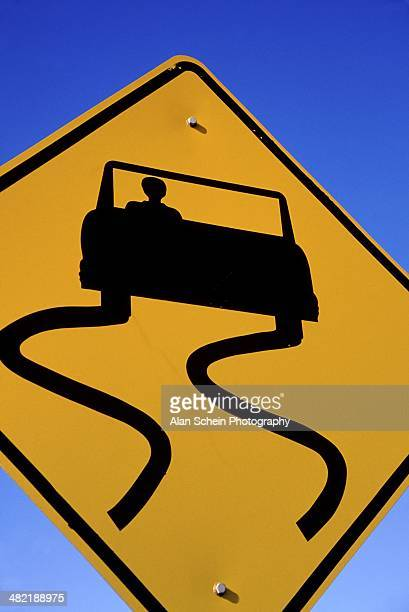 Sign Warning of Slippery Road