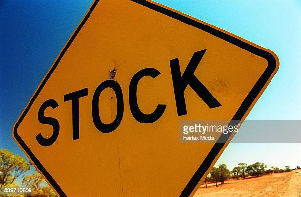 A sign warning of stock on the road in rural New South Wales 23 September 2003 AFR Picture by JAMES DAVIES