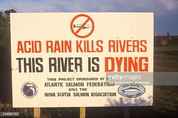A sign warning this river is dying