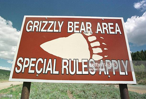 A sign warning vistors of grizzly bears sits at the entrance to BridgerTeton National Forest May 27 2001 near Cora WY State and federal wildlife...