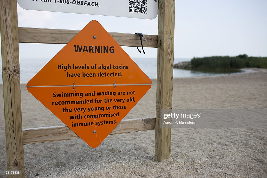 A sign warns bathers about algae infestation at Maumee Bay State Park August 4 2014 in Oregon Ohio Toledo Ohio area residents were once again able to...