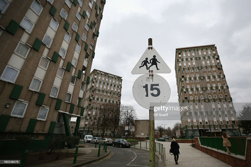A sign warns motorists of children playing in front of a residential development in the London borough of Tower Hamlets on February 21, 2013 in London, England. A recent study has shown that 42 per cent of children in Tower Hamlets live in poverty, making it the worst area of the UK for child poverty. The research was carried out by the 'Campaign to End Child Poverty' who have produced a map describing levels of child poverty across the UK.
