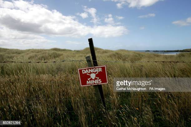 A sign warns of a minefield on the Falkland Islands It is believed that more than 100 minefields containing 16000 mines cover a total area of 20...