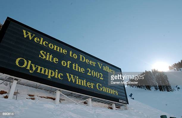 A sign welcomes people to the upcoming Olympic Winter Games January 14 2002 at the Deer Valley Ski Resort in Park City UT Deer Valley is the site of...