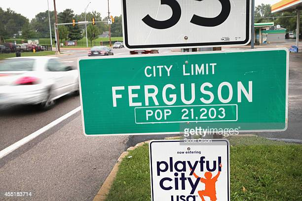 A sign welcomes visitors to the city on September 10 2014 in Ferguson Missouri The suburban St Louis city is still recovering from violent protests...
