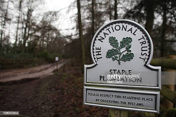 A sign welcomes visitors to the National Trust's Staple Plantation on the Quantock Hills on January 12 2011 near Minehead England Currently thousands...