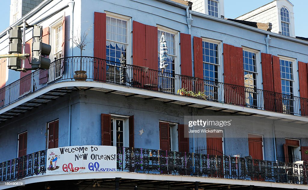 A sign welcoming fans hangs from a balcony in the French Quarter prior to Super Bowl XLVII on February 1, 2013 in New Orleans, Louisiana.