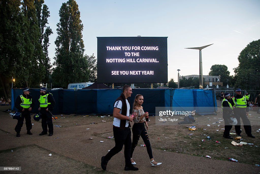 A sign which says 'Thank you for Coming to The Notting Hill Carnival' is displayed in a park as the Notting Hill Carnival comes to an end on August...
