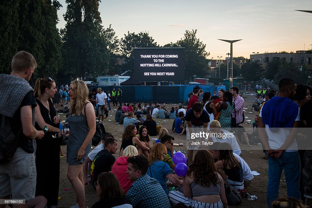 A sign which says 'Thank you for Coming to The Notting Hill Carnival' is displayed in a park where revellers gather as Notting Hill Carnival comes to...