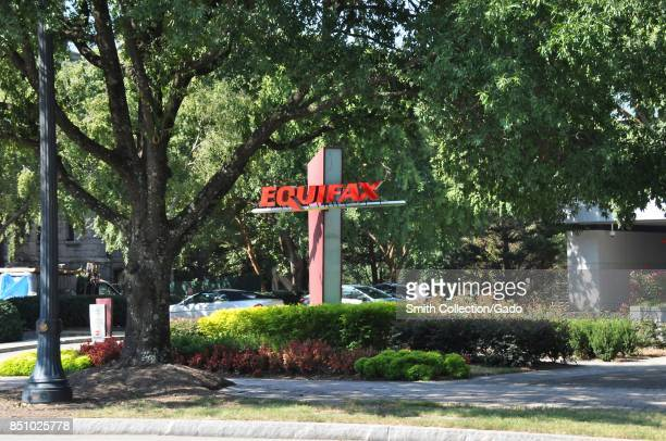 Sign with logo among trees at the headquarters of credit bureau Equifax in downtown Atlanta Georgia September 20 2017 In September of 2017 a data...